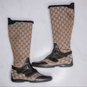 GUCCI Beige/Ebony GG Canvas Boots Size 37/ US 7